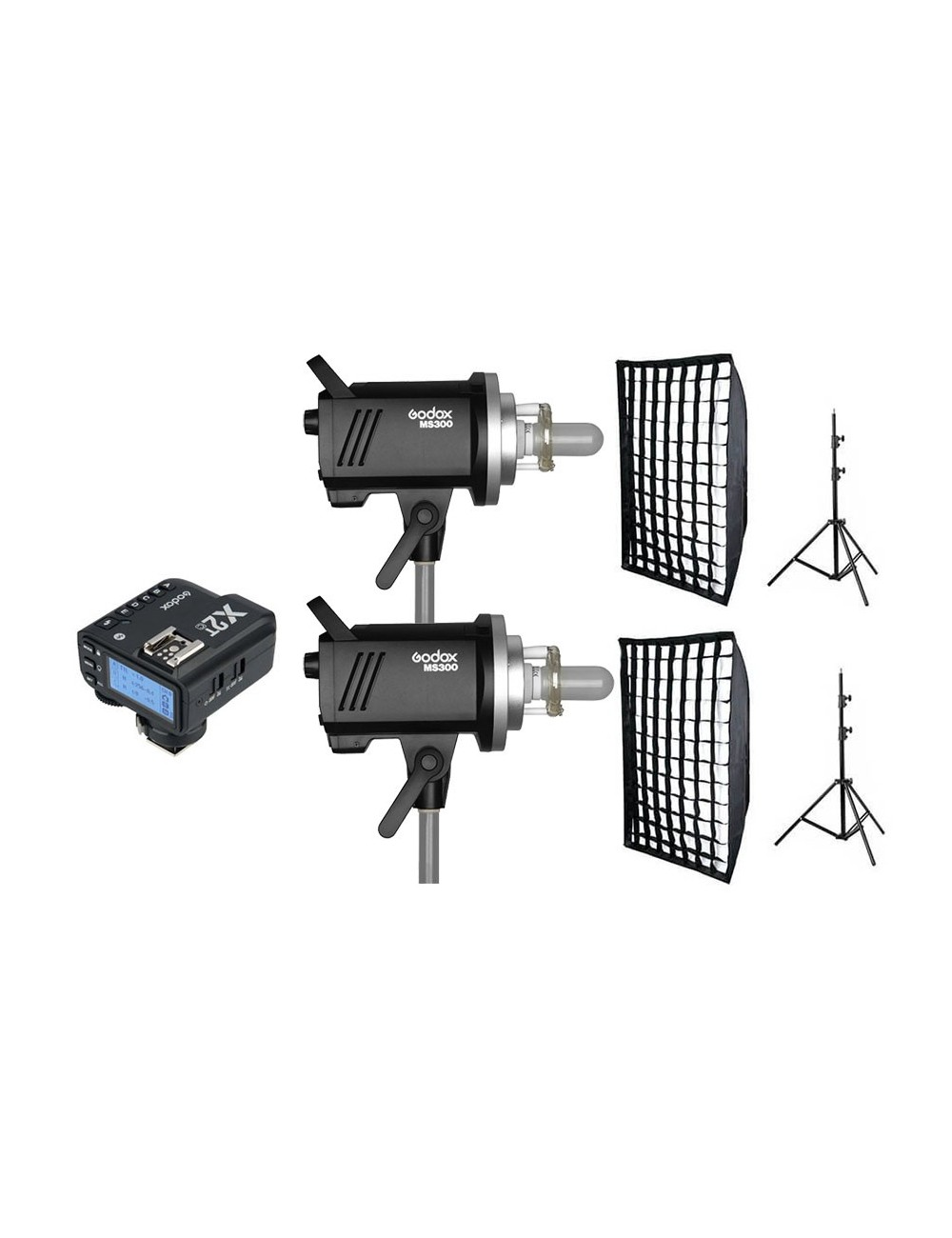 Kit 2 Godox MS300 flashes de estudio y accesorios Nikon